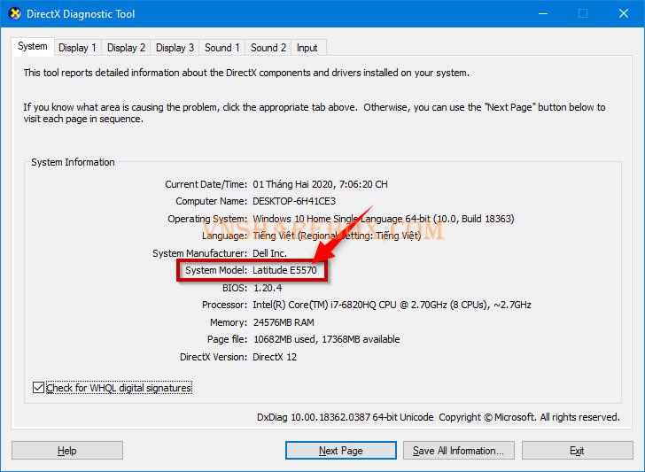xem-model-laptop-trong-directx-diagnostic-tool-115-2