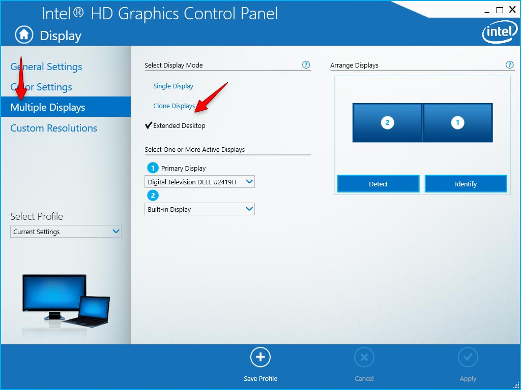 Multiple Display Intel HD Graphics Control Panel