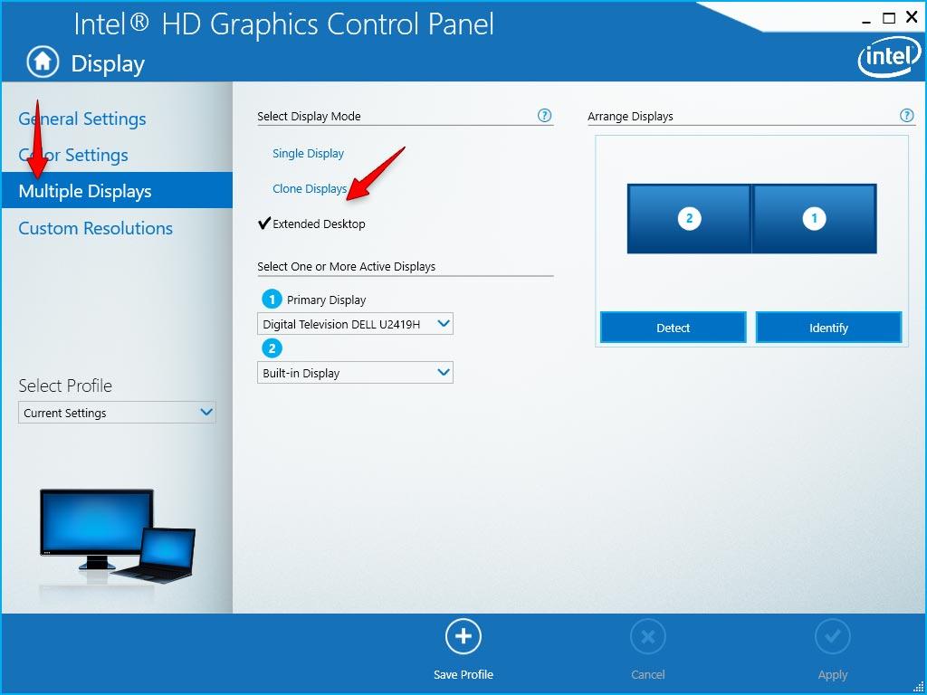 Multiple Display Intel HD Graphics Control Panel