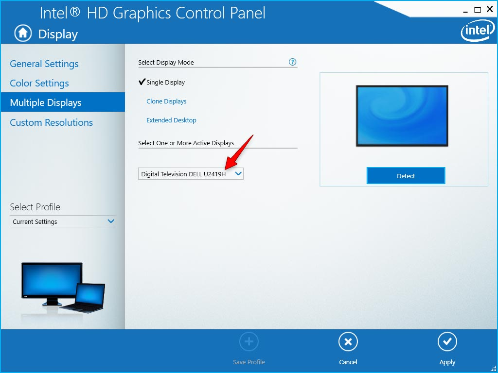 Tùy chọn Single Display trong Intrl Control Panel