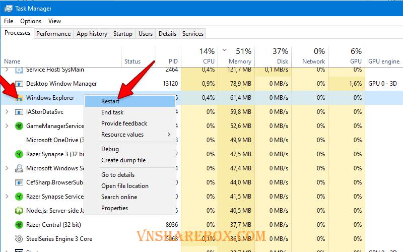 Restart Windows Explorer bằng Task Manager