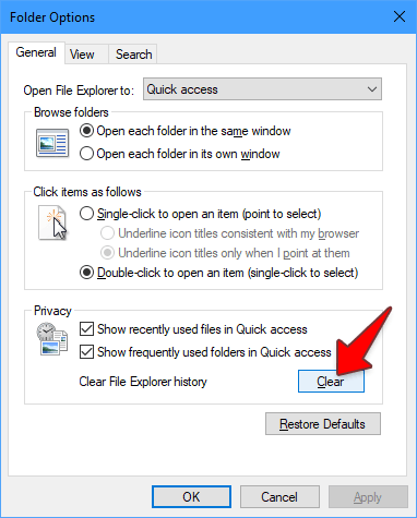 Clear Cache File Explorer History