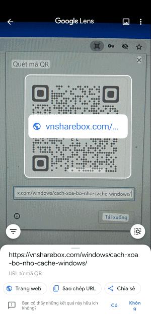 Đọc QR Code bằng ứng dụng Google Len