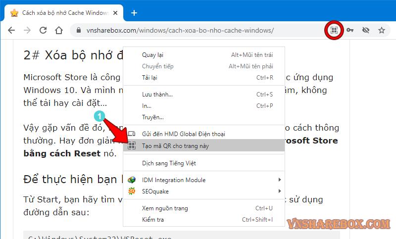 Tạo mã QR cho trang Web
