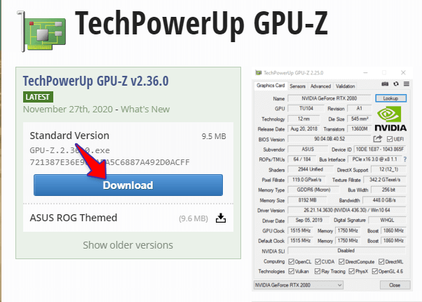 Tải TechPowerUp GPU Z