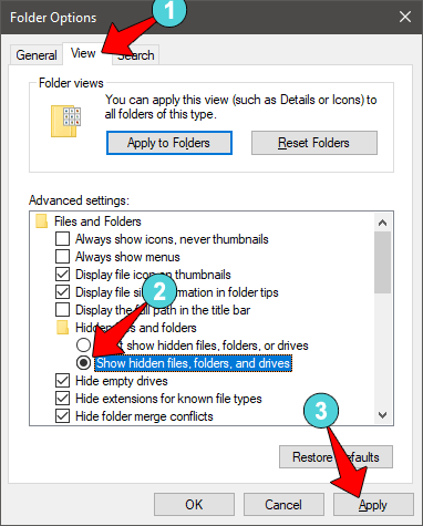 Show Hidden File Windows