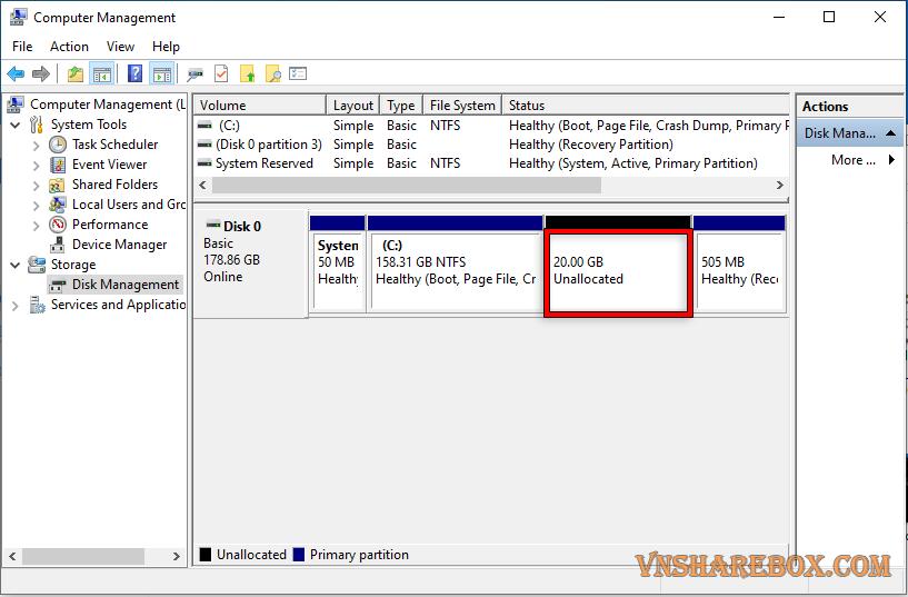 Tạo phân vùng ổ cứng mới Windows 10
