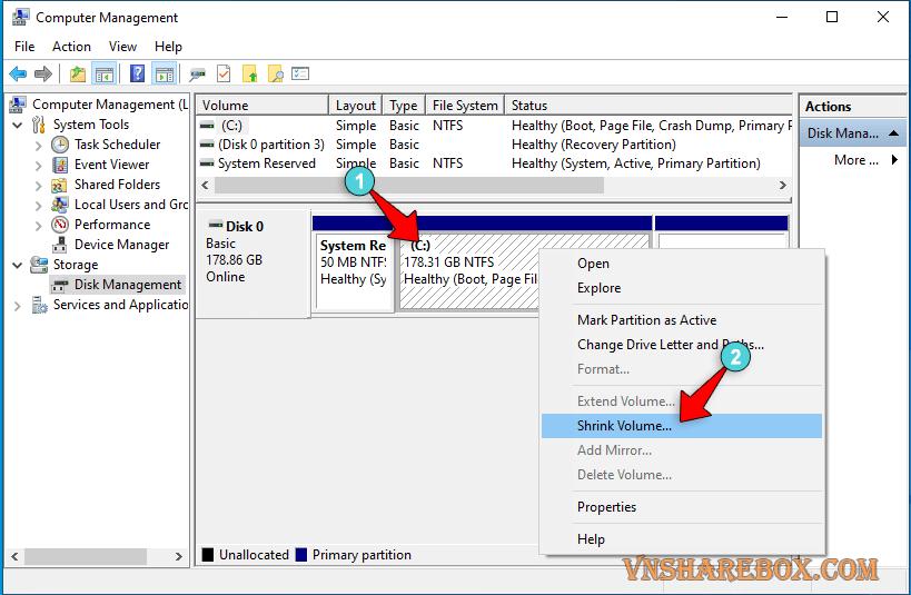 Chia phân vùng ổ cứng trên Windows 10