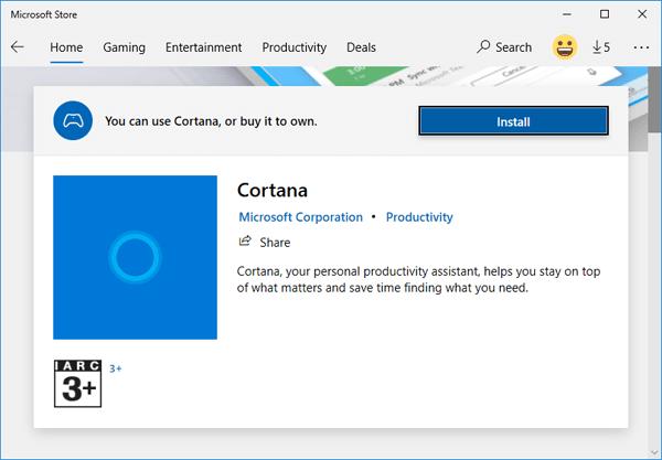 Cài đặt Cortana trên Windows 10