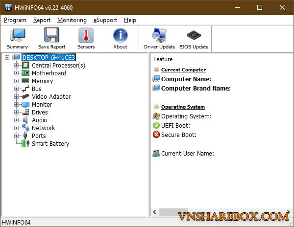 HWiNFO hardware monitor tool