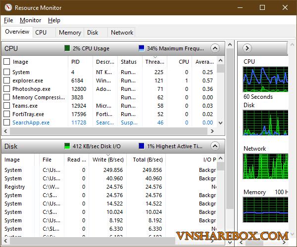 Resource Monitor Windows 10