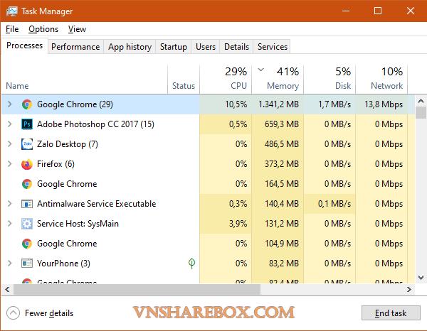 Chrome sử dụng trên Windows 10